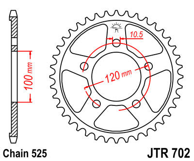 JTR702 Rear Drive Motorcycle Sprocket 40 Teeth (JTR 702.40)