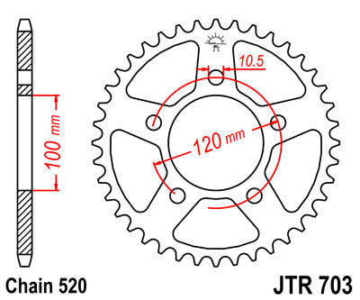 JTR703 Rear Drive Motorcycle Sprocket 44 Teeth (JTR 703.44)