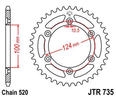 JTR735 Rear Drive Motorcycle Sprocket 38 Teeth (JTR 735.38)