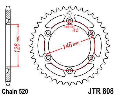 JTR808 Rear Drive Motorcycle Sprocket 43 Teeth (JTR 808.43)