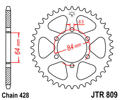 JTR809 Rear Drive Motorcycle Sprocket 44 Teeth (JTR 809.44)