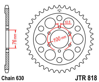 JTR818 Rear Drive Motorcycle Sprocket 42 Teeth (JTR 818.42)
