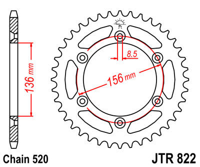 JTR822 Rear Drive Motorcycle Sprocket 48 Teeth (JTR 822.48)
