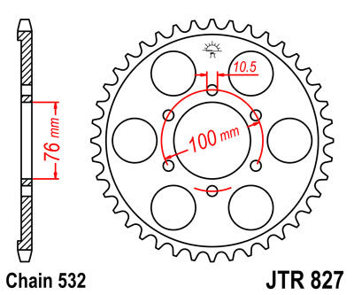 JTR827 Rear Drive Motorcycle Sprocket 44 Teeth (JTR 827.44)