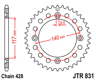 JTR831 Rear Drive Motorcycle Sprocket 48 Teeth (JTR 831.48)