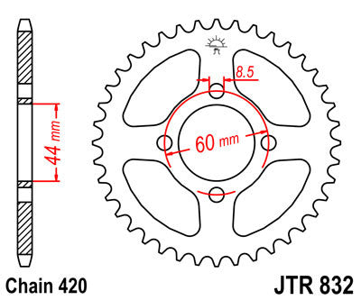 JTR832 Rear Drive Motorcycle Sprocket 44 Teeth (JTR 832.44)
