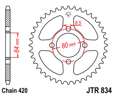 JTR834 Rear Drive Motorcycle Sprocket 39 Teeth (JTR 834.39)