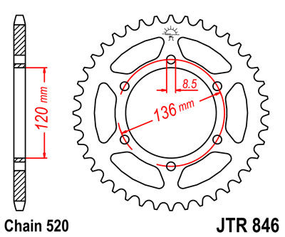 JTR846 Rear Drive Motorcycle Sprocket 45 Teeth (JTR 846.45)