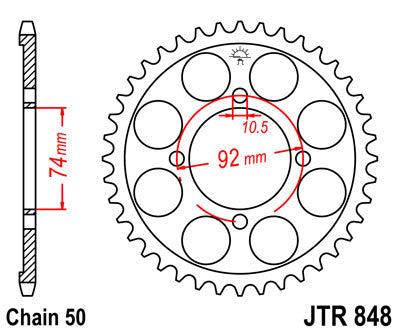 JTR848 Rear Drive Motorcycle Sprocket 37 Teeth (JTR 848.37)