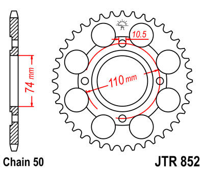 JTR852 Rear Drive Motorcycle Sprocket 41 Teeth (JTR 852.41)