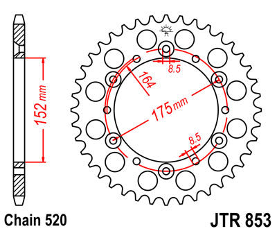 JTR853 Rear Drive Motorcycle Sprocket 41 Teeth (JTR 853.41)