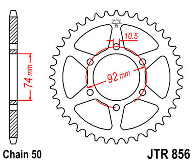 JTR856 Rear Drive Motorcycle Sprocket 45 Teeth (JTR 856.45)