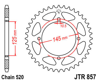 JTR857 Rear Drive Motorcycle Sprocket 39 Teeth (JTR 857.39)