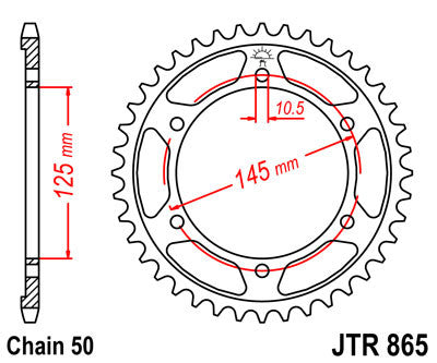 JTR865 Rear Drive Motorcycle Sprocket 44 Teeth (JTR 865.44)