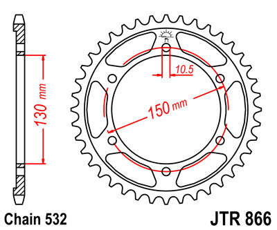 JTR866 Rear Drive Motorcycle Sprocket 39 Teeth (JTR 866.39)