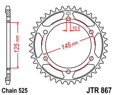 JTR867 Rear Drive Motorcycle Sprocket 43 Teeth (JTR 867.43)