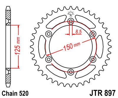 JTR897 Rear Drive Motorcycle Sprocket 40 Teeth (JTR 897.40)