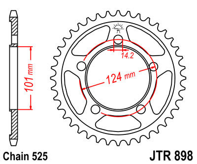 JTR898 Rear Drive Motorcycle Sprocket 38 Teeth (JTR 898.38)