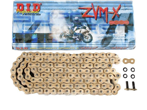 Super DID Motorcycle Chain Heavy Duty X-Ring Gold 525 ZVMXGG 100 (ZJ)