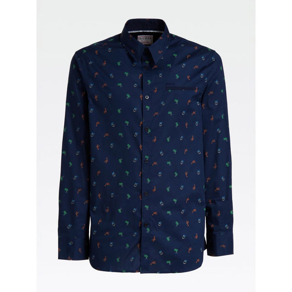 GUESS UOMO - LS SUNSET SHIRT - BLUETTE