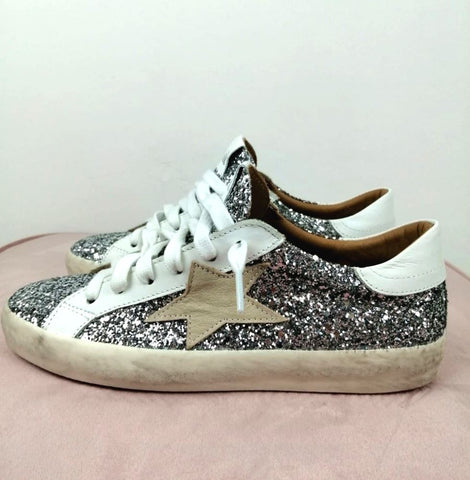 I-SIK - SNEAKERS GLITTER STELLA - ARGENTO/PANNA