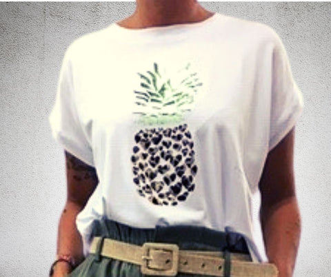 NEW CITY COLLECTION - T-SHIRT ANANAS - BIANCO