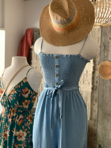 Chambray Ruffled Torso Cropped Jumpsuit