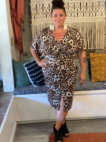 Leopard Front Twist Dress