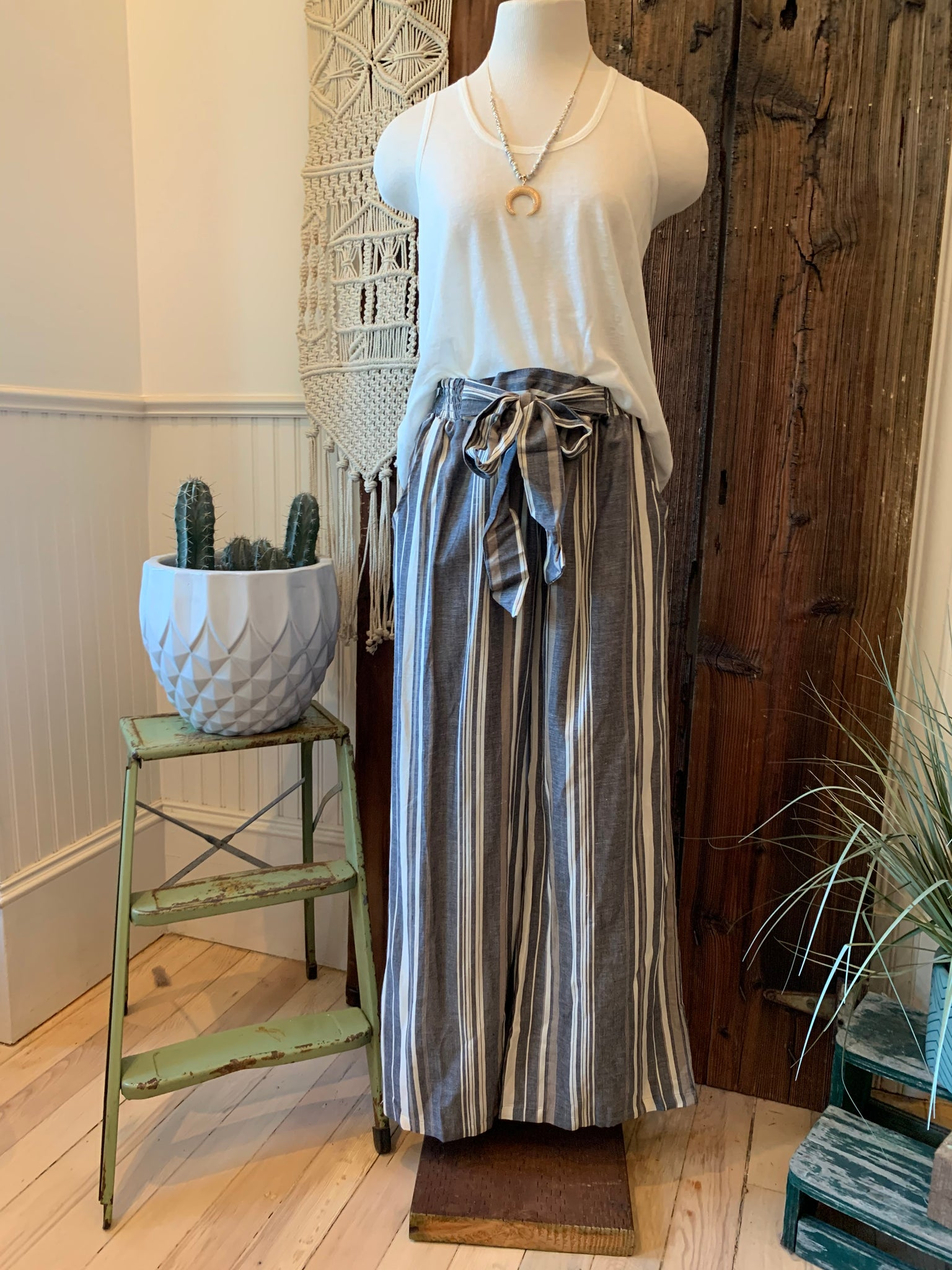 Summer Stripe Wide Leg Pants