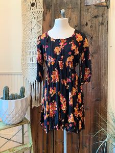 Button Floral 3/4 Sleeve Dress