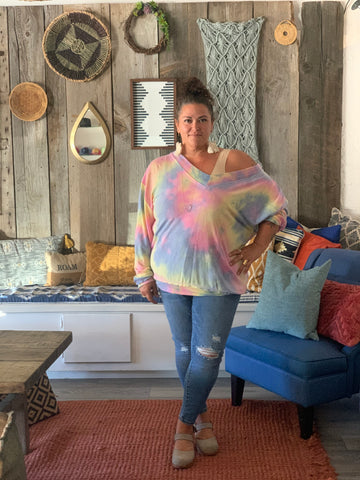Pastel Off Shoulder V Pullover (Straight and Plus)