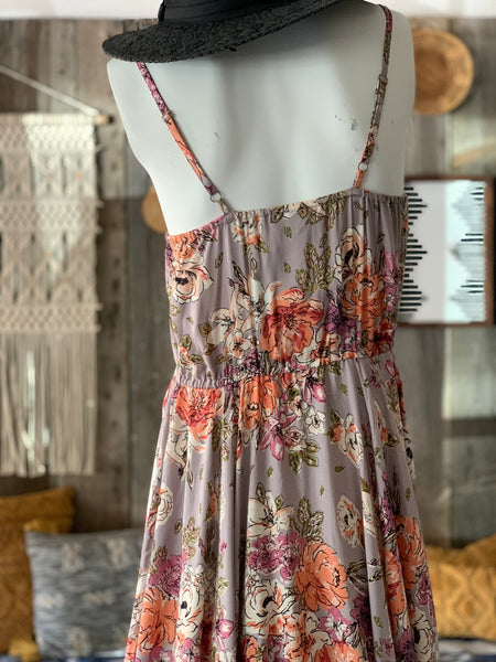 Floral Button Down Handkerchief Hem Dress