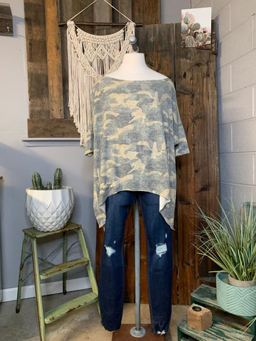 Faded Camo Off-Shoulder Top