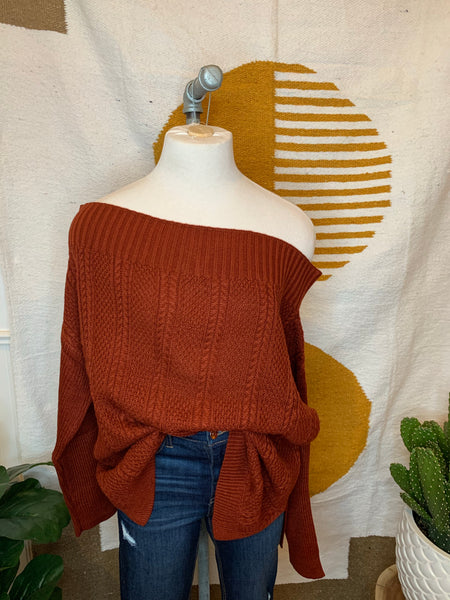 Brick Off Shoulder Sweater
