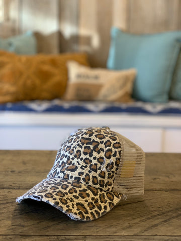 light cheetah strappy back hat