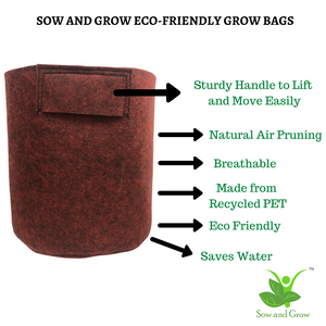 Geo Fabric Grow Bag Size 12 x 12 inches || Heavy Duty 500 GSM || For Terrace Garden - Grow Vegetables, Flowers, Herbs