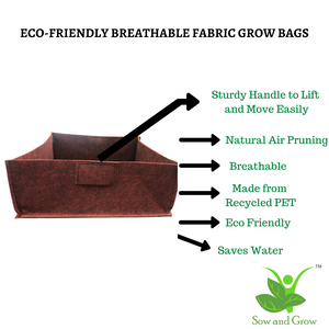 Sow and Grow Air Pruning Geo Fabric Grow Bags || 500 GSM || Heavy Duty for Home, Terrace, Balcony Garden - Leafy Vegetables, Herbs || Size 16 x 16 x 6 inches || Set of 2