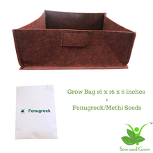Load image into Gallery viewer, Large Grow Bag and Fenugreek/Methi Seeds Grow it Yourself Vegetable Kit