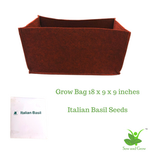 Load image into Gallery viewer, Large Rectangle Grow Bag and Italian Basil Seeds Grow it Yourself Herb Kit