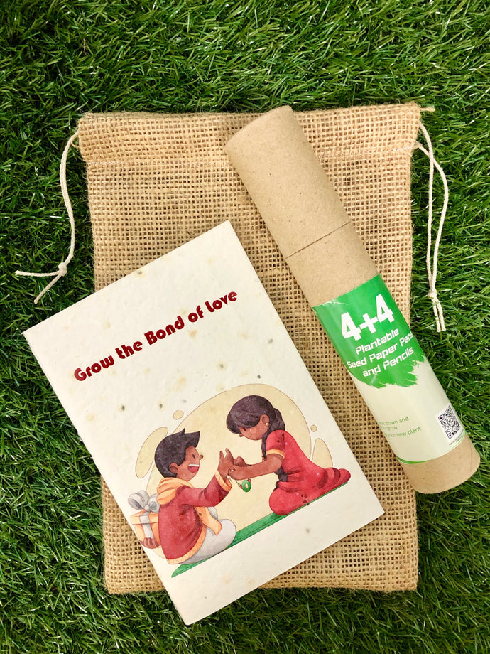 Rakhi themed Plantable Diary + 4 Plantable Pencils and 4 Plantable Pens in a Jute Bag