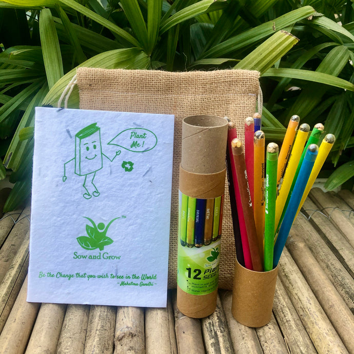 Jute Bag Collection: 1 Plantable Diary and 12 Plantable Pencil Combo in a Re-usable Stationary Box
