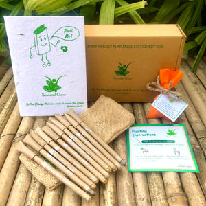 Brown Box Collection: 10 Seed Paper Pens + 1 Seed Diary + 1 Seed ball