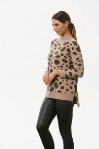 BL0633 – LEOPARD PATTERN HIGH NECK PULLOVER