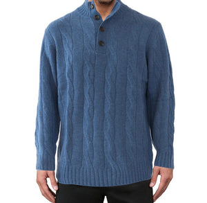 Cable cashmere-merino button collar C2736