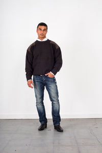 Woollen Crewneck Jumper with Patches KW8012