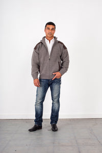 Woollen full zip Jacket with Patches & Pockets KW8015