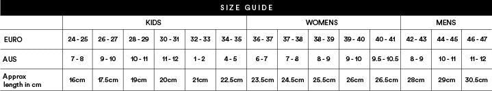 Freedom Moses Size Guide