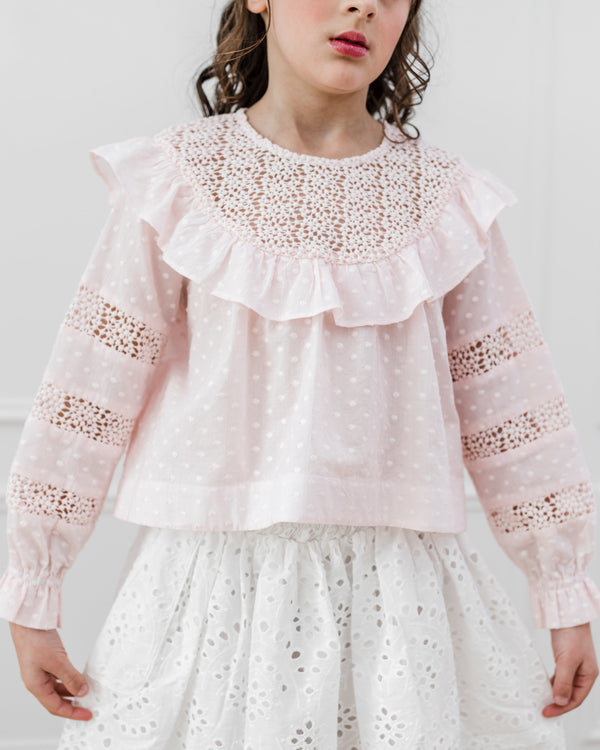 Petite Amalie Embroidered Dot Lace Yoke Blouse Bridal Blush