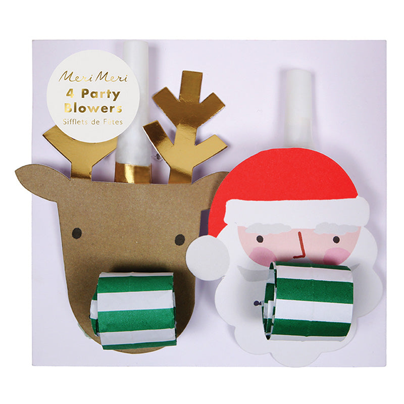 Santa & Reindeer Party Blowers