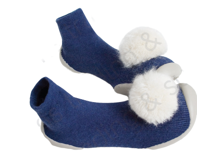 Collegien Slipper Socks Cashmere Blue With White Pom Pom
